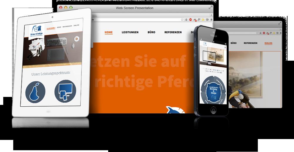 Ocker und Indigo - Desktop, Mobile und Tablet