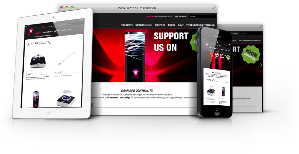 Ape Labs Website - Desktop, Mobile, Tablet