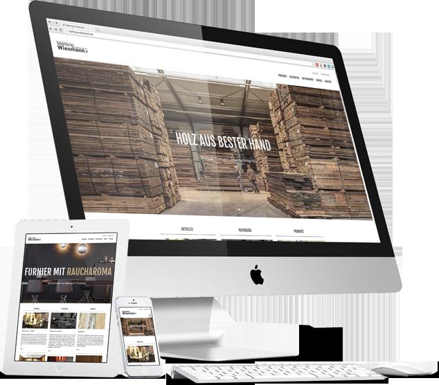 Mehling Wiesmann Website auf Desktop-, Tablet- und Smartphone-Ansicht