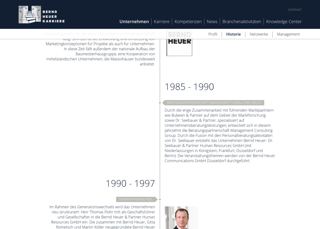 Zeitstrahl - Bernd Heuer Karriere Website